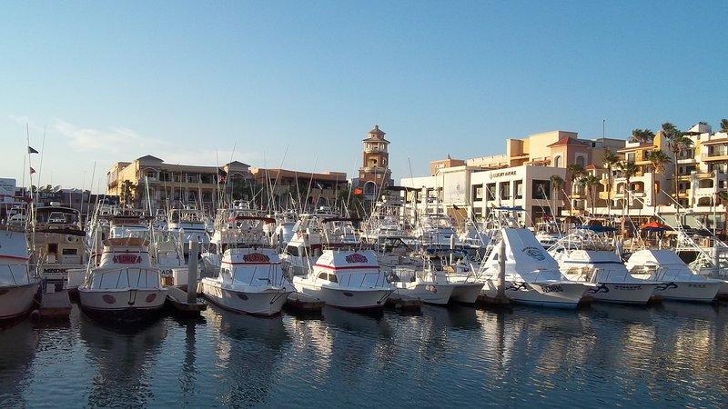Puerto Paraiso Mall e Luxury Avenue Mall ao longo da Marina.