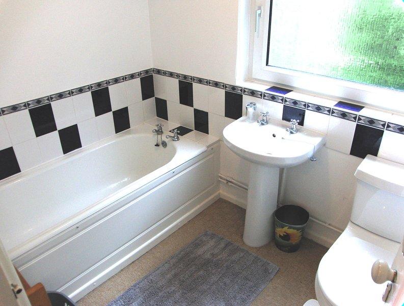 Bathroom 2 with full sized steel bath.