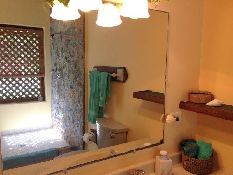 Rotswanden in douche en gescreend rooster met uitzicht op de tuinen