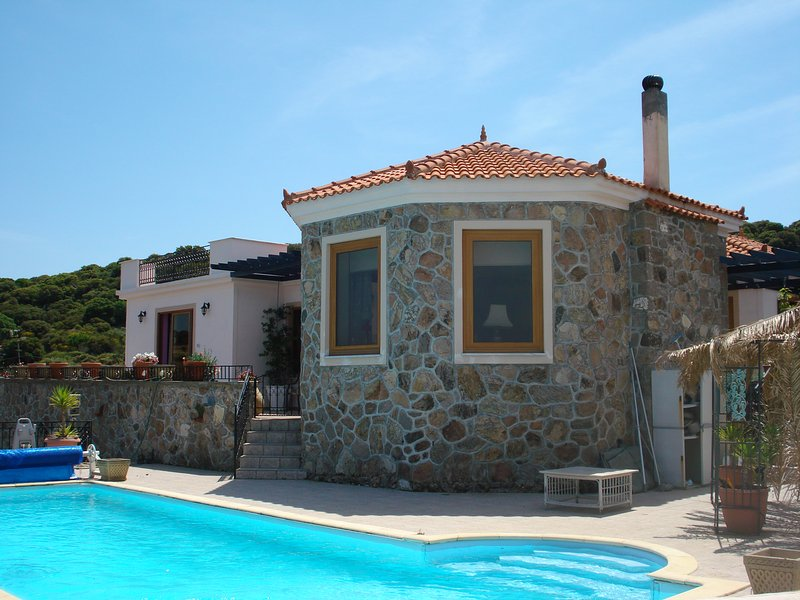 Imposing villa with panoramic views of Molyvos, Turkey, Aegean. Secluded, easy access to beaches.