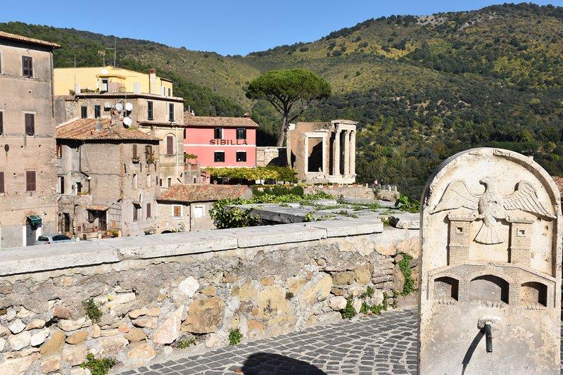 dell'Acrropoli views with the Temple of Vesta, from Piazza Rivarola