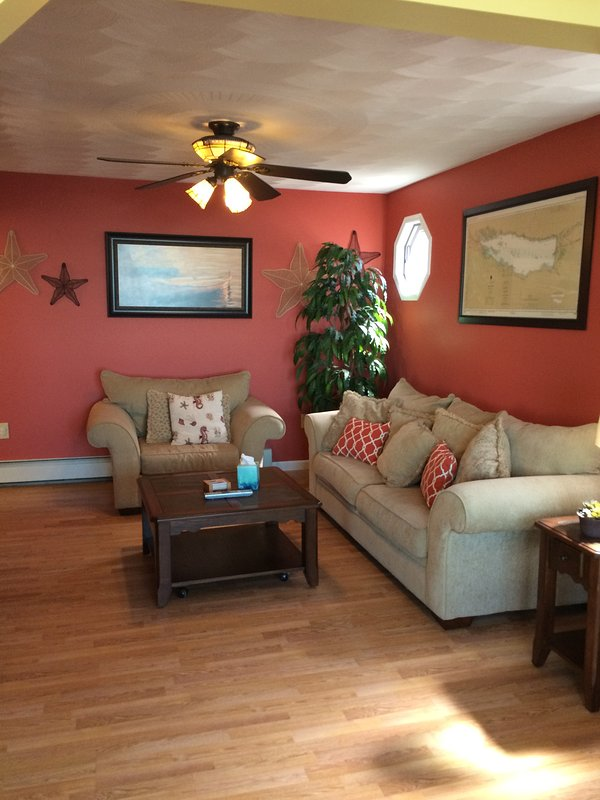 Large Family Lounging Room with Oversize Couch (pulls out to queen bed) and Loveseat