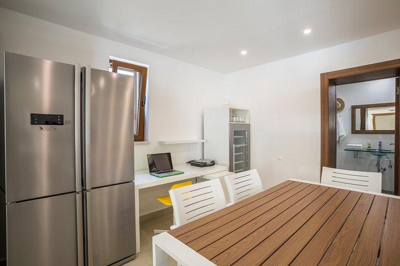 fridge, worktable and wine fridge