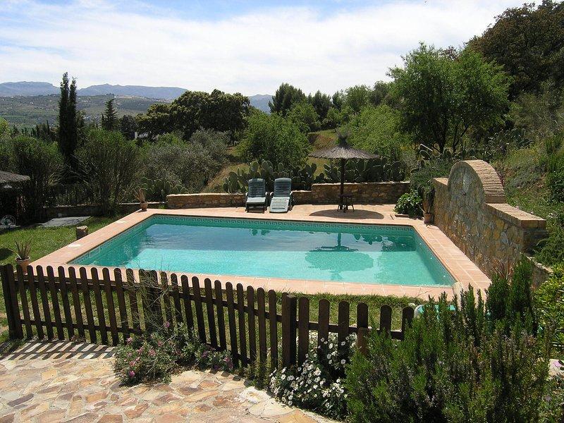 bela piscina e vista