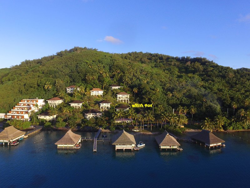 Our bungalow is in this hillside paradise.  A two minute walk to the lagoon.