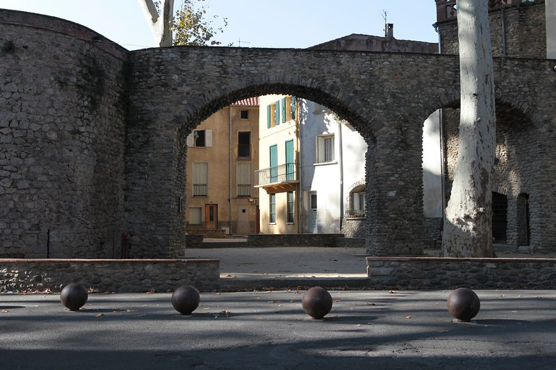 The Ramparts.  Through the archway turn right and you are at the house in a few steps