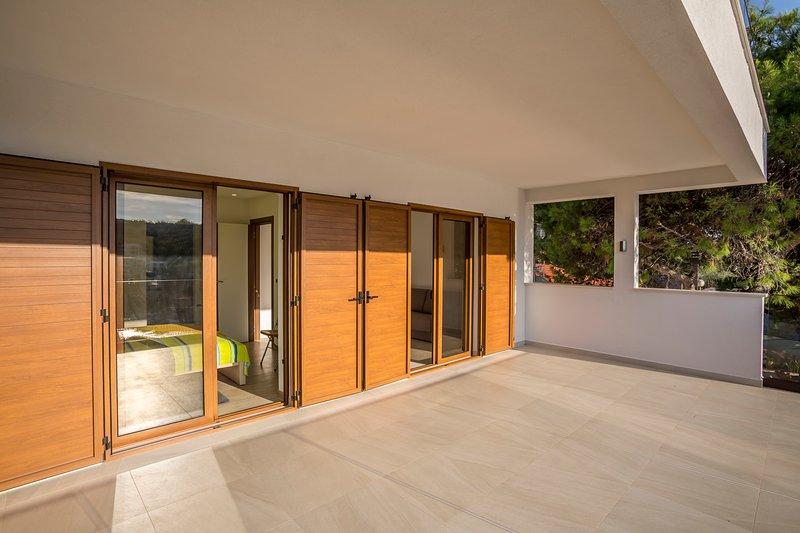 two doorways to terrace