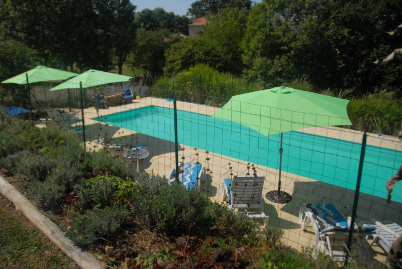 Beautiful pool surrounded by fence for peace of mind when holidaying with young children.
