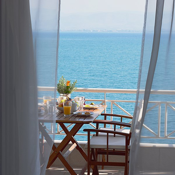 Sea View from living room- Holiday Beach Apartment in Kiveri village close to Nafplion