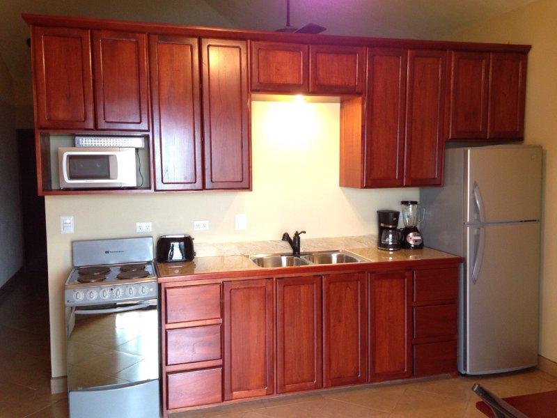Cocina totalmente equipada con microondas, cafetera, licuadora, tostadora, etc.