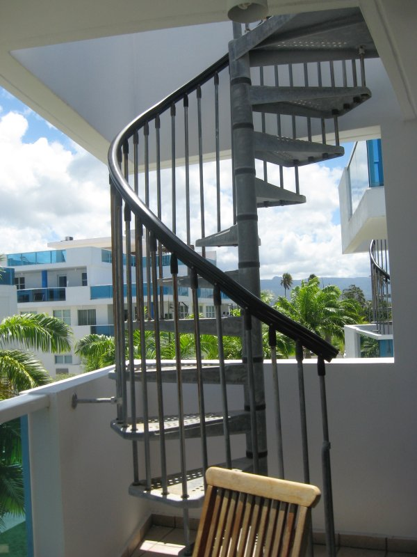 Spiral staircase to the roof top terrace
