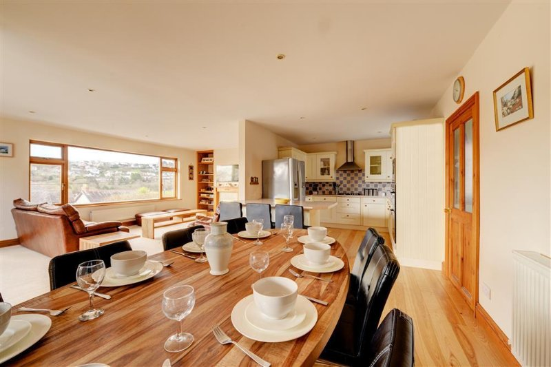 Dining area with kitchen to the rear