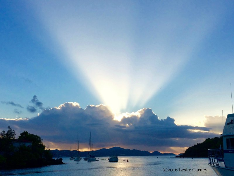 Gorgeous sunset over St. Thomas from the National Park dock.