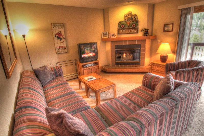 SkyRun Property - 'C213 Cinnamon Ridge' - Living Room - The living room has a gas burning fireplace and a TV.