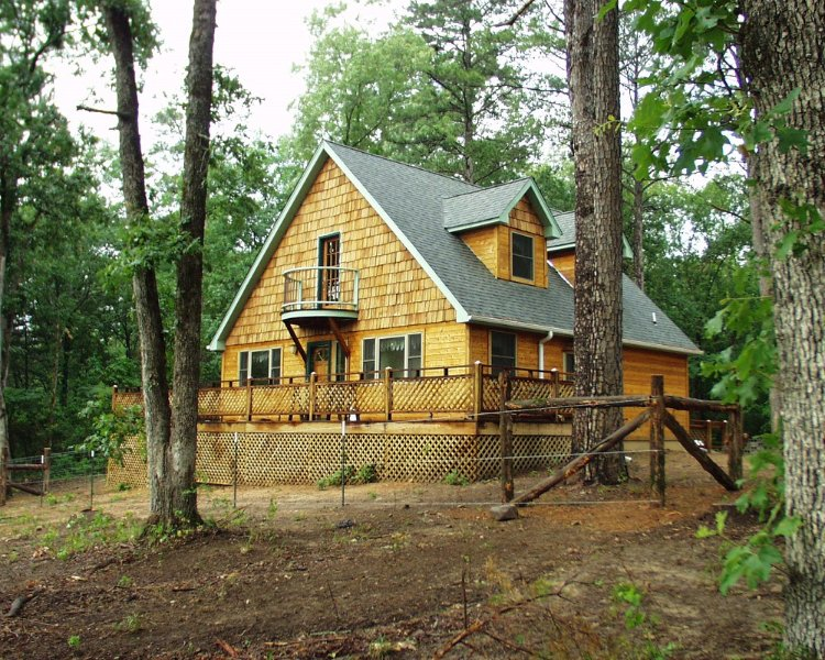 The cottage nestled above the  natural oxbow lake and near the Kiamichi River. Want to get away..?