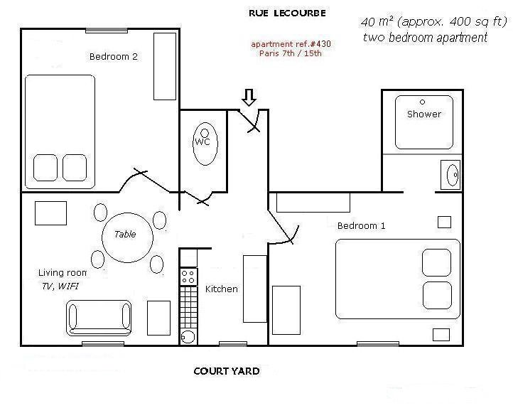 40m²  2 bedrooms apartment