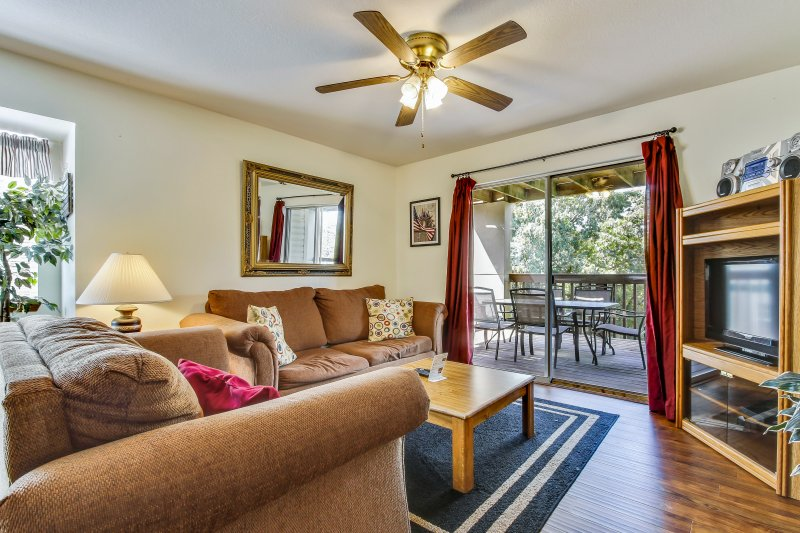 Living room with access to Private Covered Deck. Queen size sofa sleeper,