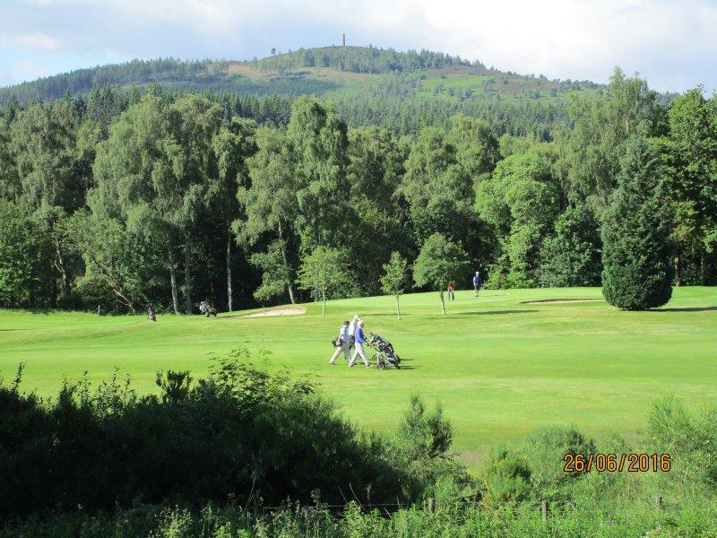 Scolty avec tour en regardant à travers terrain de golf