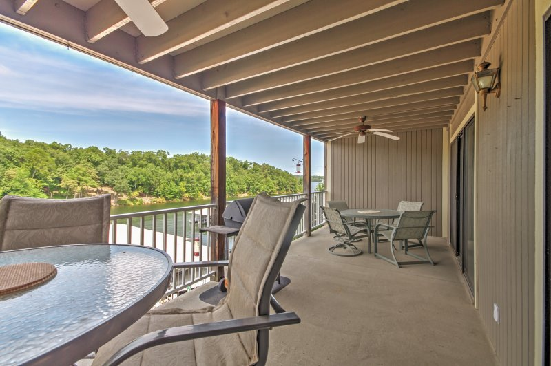Look forward to sipping a freshly-brewed cup of coffee on the private deck overlooking the lake.