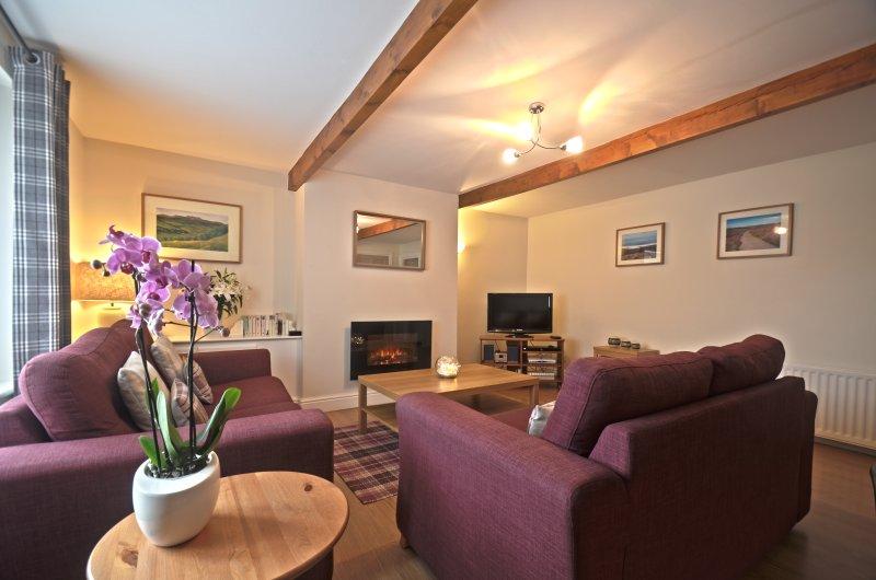 """La sala de estar es amplia, con carácter, 32 """"LDC TV, consola de juegos Wii, libros y DVDs"""