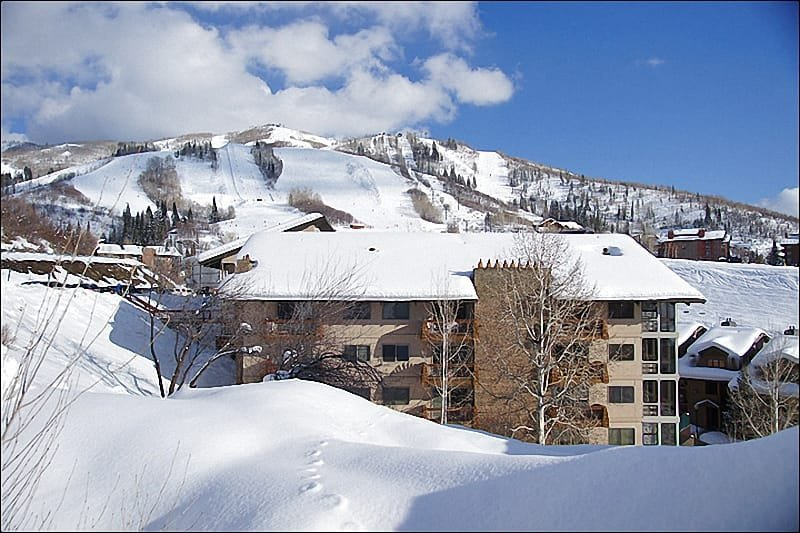 Exterior View of this Ski-In location at the base of the Steamboat Ski Resort.