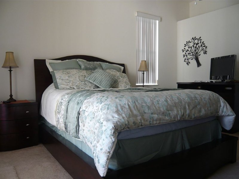 Master Bed heeft nieuwe beddengoed TV uitgerust tapijt en wandelen in kleedkamer plus openslaande deuren naar zwembad