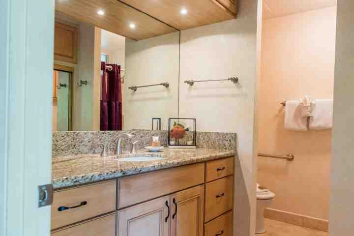 Full sized bathroom with shower and small tub.