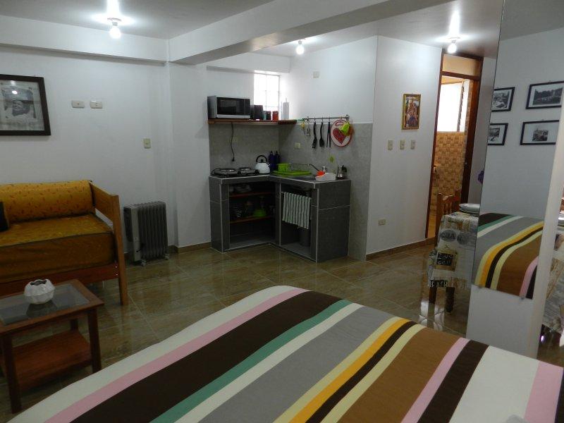 lit double, un canapé-lit et une kitchenette