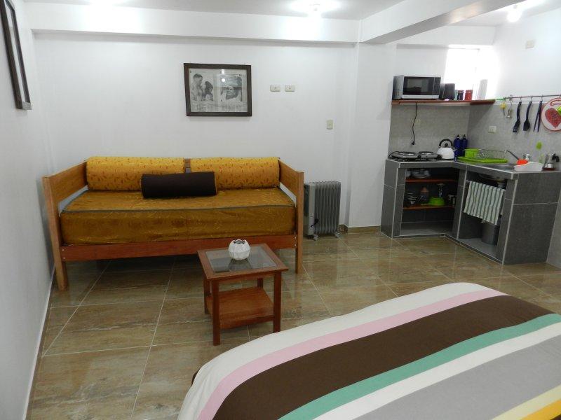 lit double, grand canapé lit de taille de 1,5 et une kitchenette