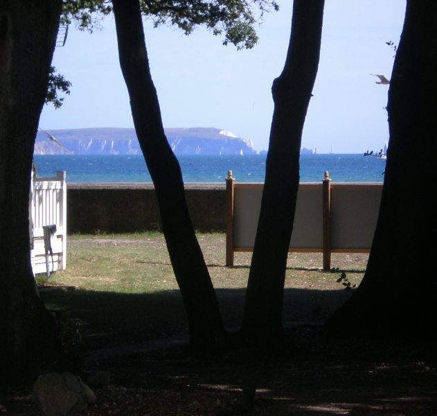 View from the caravan's decking of the Needles and Isle of Wight