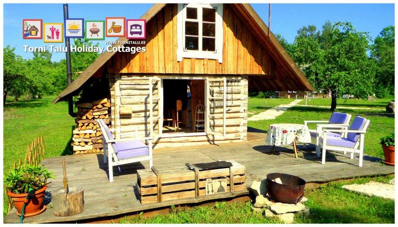 Romantic Cabin with bath and fireplace, Torni Talu, aluguéis de temporada em Estônia