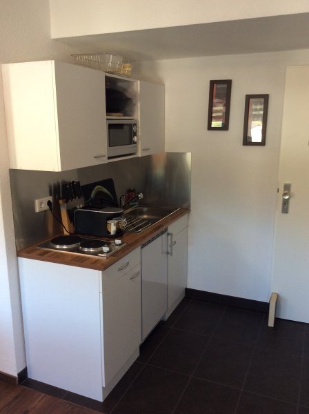 Μικρή κουζίνα με τοστιέρα, ψυγείο, φούρνο μικροκυμάτων 2.Herdplatten