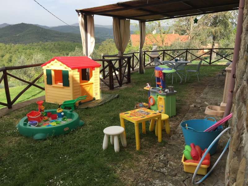 Play area with playhouse, sandpit, play kitchen and toys