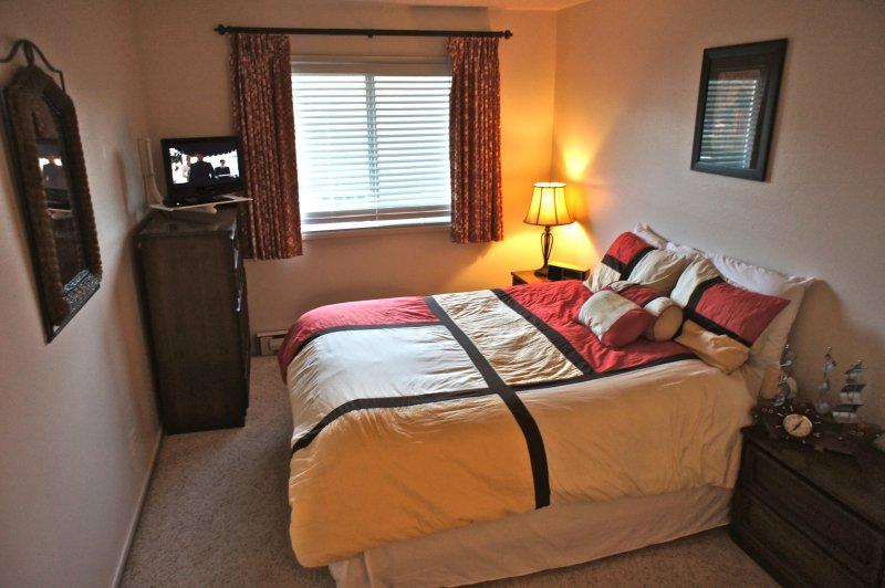 The back bedroom has a queen bed