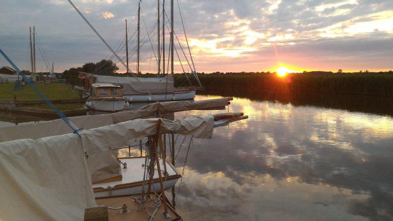 Sunset on river Thurne at Martham