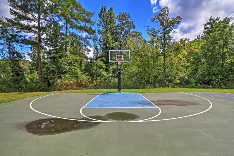 Horse around on the half-court basketball court with your friends and family.