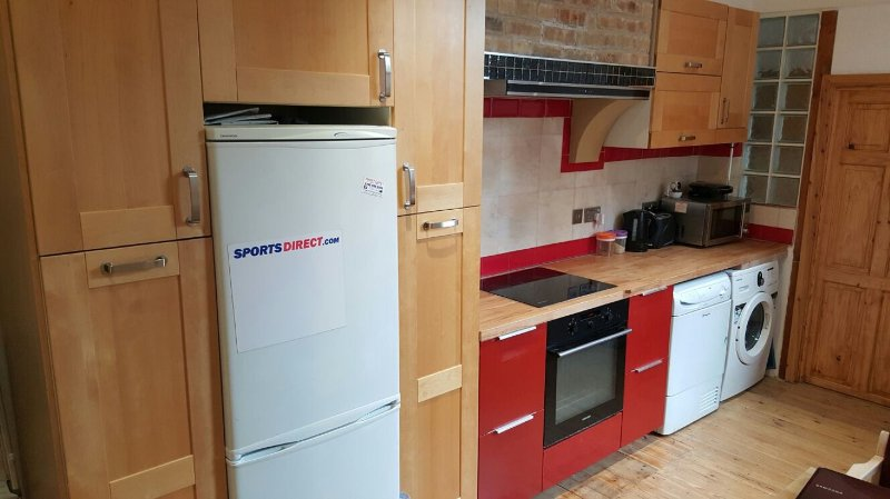 The kitchen has fridge/freezer, washing machine, dryer, hob, oven, extractor. All pans and utensils.