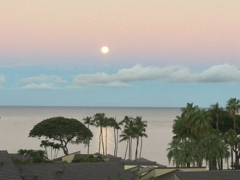 View spectacular Maui sunsets & moonsets  from our Lanai and let your cares disappear.