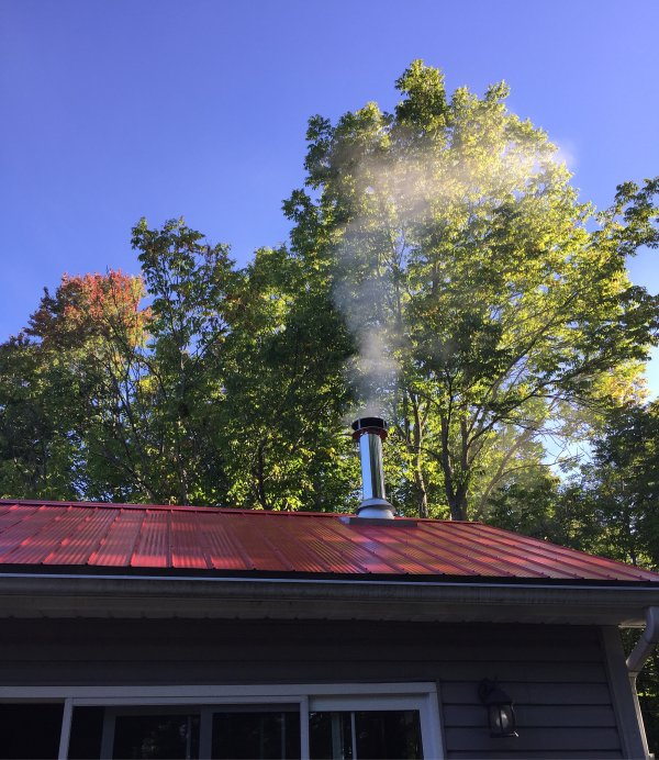 Watch the smoke from the chimney and the changing leaves.