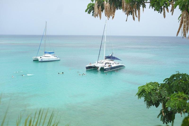 Catamarans anchored in Batts Bay adjacent to Ocean Blues, folk swimming