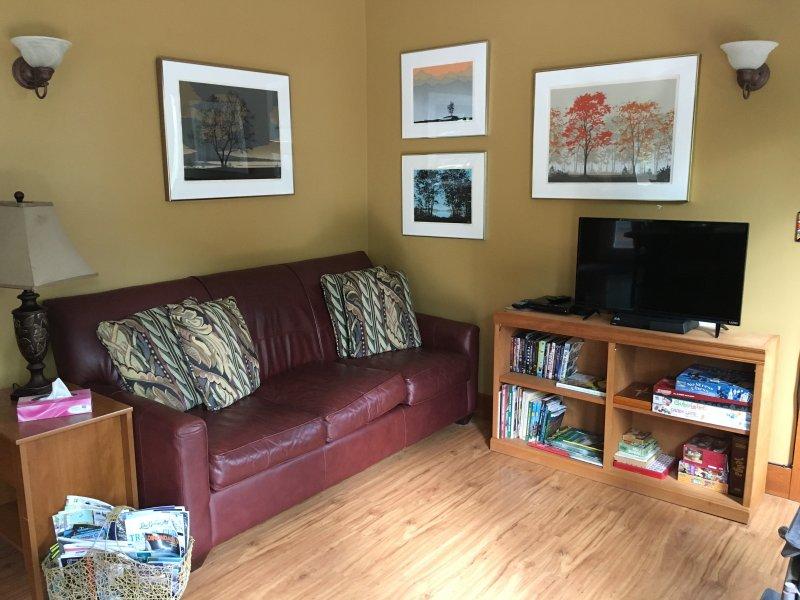 Expandida L / R vista com fogão a lenha, tv inteligente e vista arborizada espetacular além