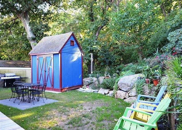 Backyard seating and garden.