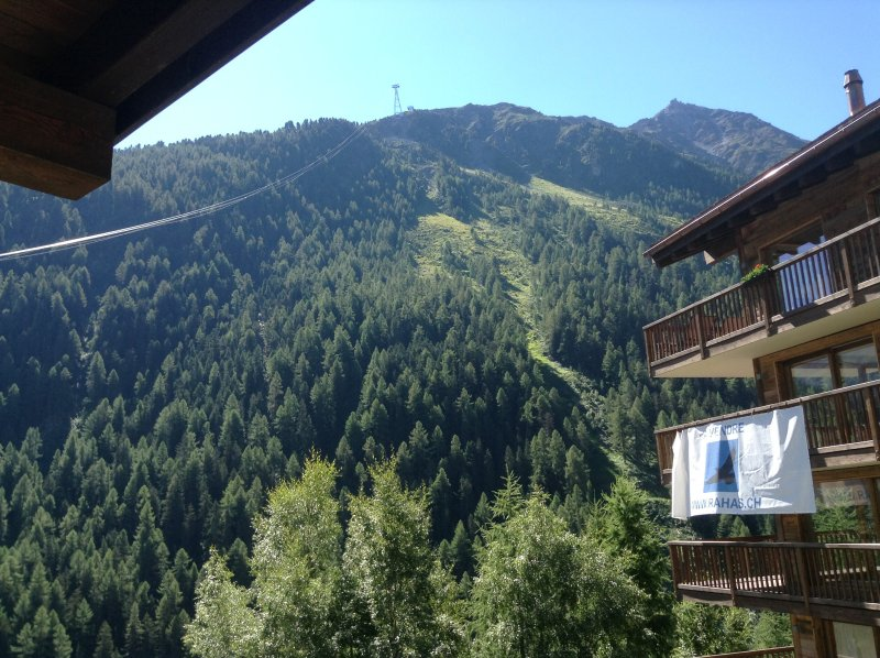 View from no.3 following the new state of the art cable car  connecting ski area Grimentz Zinal
