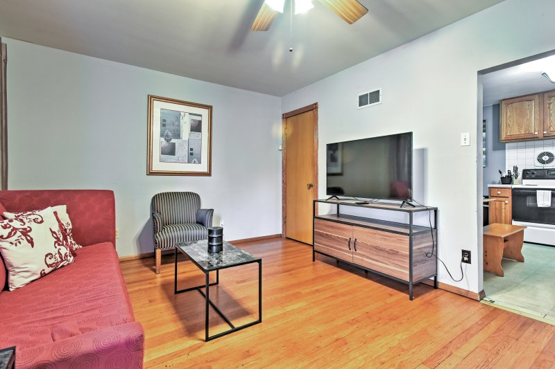 Look forward to watching movies on the flat screen TV in the spacious living room.