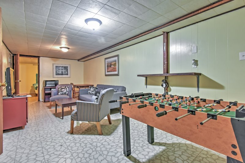 Enjoy some friendly competition during your downtime on the foosball table.
