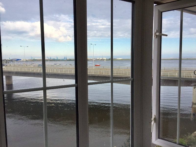Amazing views of the river Taff and Cardiff Bay Harbour from the living room