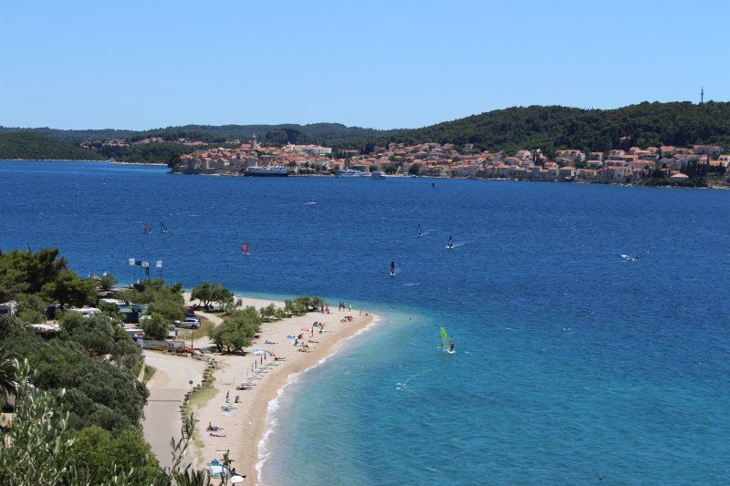 One of our many local beaches, with Korcula in the distance. Catch the foot ferry near the villa.