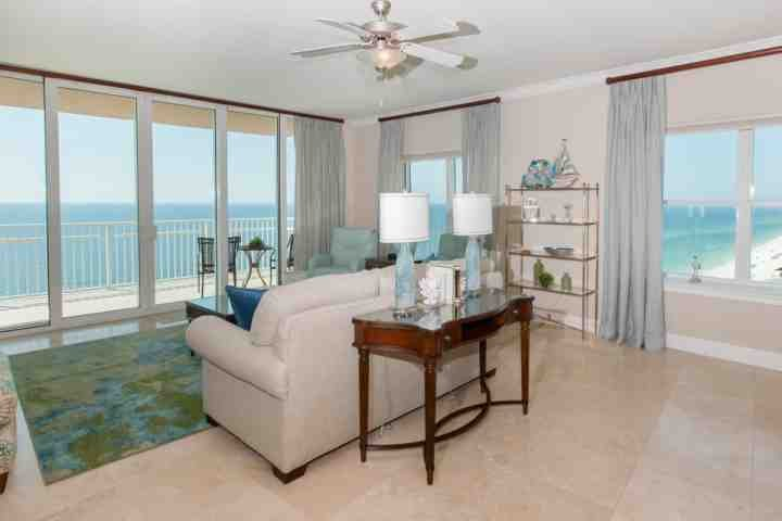 Large living room overlooking the beach and the Gulf