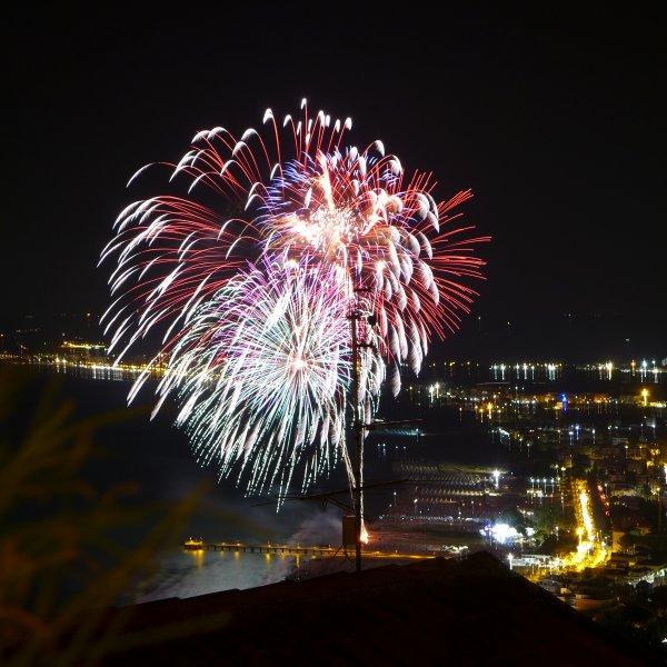 Ferragosto fireworks on the beach in August