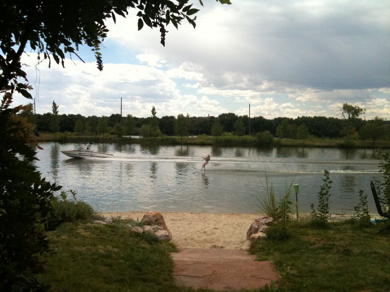 View of big ski lake across the street in front.